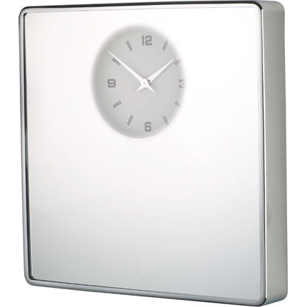Clock, Mirror, squared, chrome