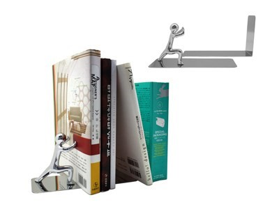 Bookend, Push!, chrome, zinc