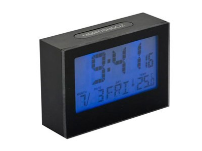 Alarm clock, Brick, LCD, black,2xAAA incl.