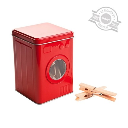 Clothes pegs box, washing machine, red, tin