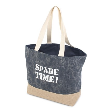 Jute Canvas Shopper Blue