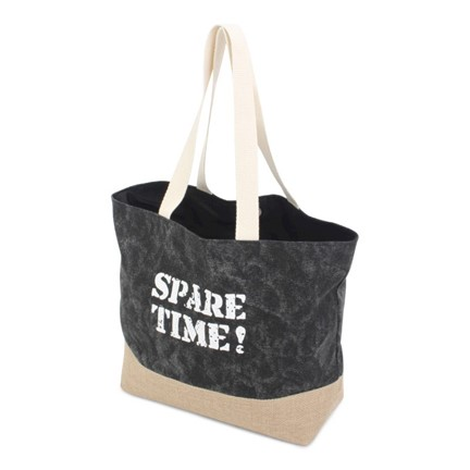 Jute Canvas Shopper Black