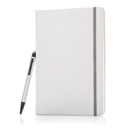 A5 hardcover notitieboek met touchscreen pen, zilver