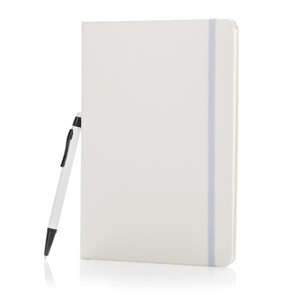 A5 hardcover notitieboek met touchscreen pen, wit