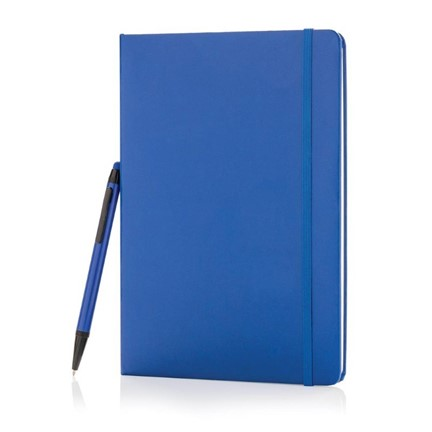 A5 hardcover notitieboek met touchscreen pen, blauw