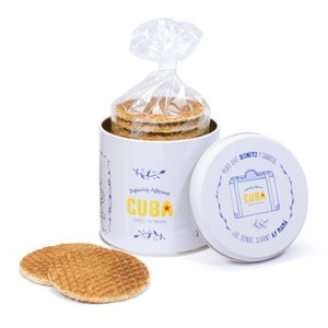 All-over bedrukt stroopwafel blik